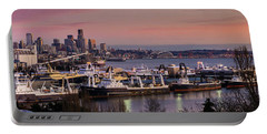 Wider Seattle Skyline And Rainier At Sunset From Magnolia Portable Battery Charger