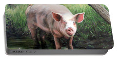 Wilbur In His Woods Portable Battery Charger by Sandra Chase