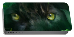 Wild Eyes - Black Panther Portable Battery Charger by Carol Cavalaris