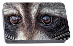 Wild Eyes - Raccoon Portable Battery Charger by Carol Cavalaris