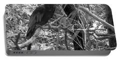 Portable Battery Charger featuring the photograph Wild Hawaiian Parrot Black And White by Joseph Baril