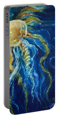 Portable Battery Charger featuring the painting Wild Jellyfish Reflection by Randy Wollenmann