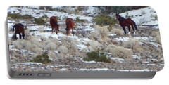 Wild Mustangs In A Nevada Winter Portable Battery Charger