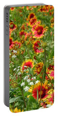 Portable Battery Charger featuring the photograph Wild Red Daisies #2 by Robert ONeil