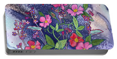 Wild Roses Portable Battery Charger by Teresa Ascone