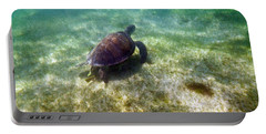 Portable Battery Charger featuring the photograph Wild Sea Turtle Underwater by Eti Reid