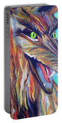Portable Battery Charger featuring the drawing Wild Wolf by Daniel Janda