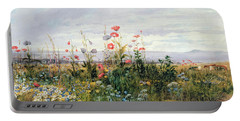 Wildflowers With A View Of Dublin Dunleary Portable Battery Charger by A Nicholl