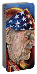 Portable Battery Charger featuring the painting Willie Nelson Artwork by Sheraz A