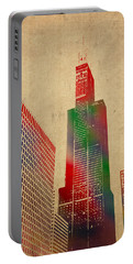Willis Sears Tower Chicago Illinois Watercolor On Worn Canvas Series Portable Battery Charger