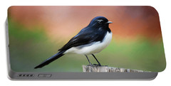 Willy Wagtail Austalian Bird Painting Portable Battery Charger