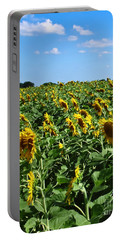 Windblown Sunflowers Portable Battery Charger by Robert Frederick