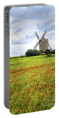 Windmill And Poppy Field In Brittany Portable Battery Charger