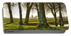 Windmill And Trees In Groningen Portable Battery Charger by Frans Blok