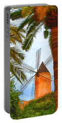 Portable Battery Charger featuring the painting Windmill In Palma De Mallorca by Deborah Boyd
