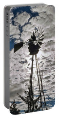 Portable Battery Charger featuring the digital art Windmill In The Clouds by Cathy Anderson