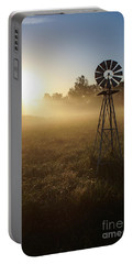 Windmill In The Fog Portable Battery Charger by Jennifer White