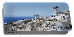 Windmills And White Houses In Oia Portable Battery Charger