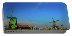 Windmills At Zaanse Schans Portable Battery Charger by Jonah  Anderson