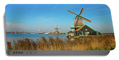 Windmills On De Zaan Portable Battery Charger by Jonah  Anderson