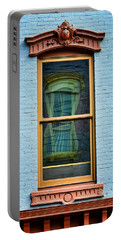 Portable Battery Charger featuring the photograph Window In Window In Red Bank by Gary Slawsky
