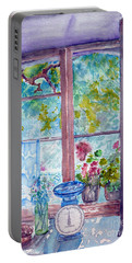 Portable Battery Charger featuring the painting Window by Jasna Dragun