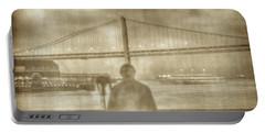 window self-portrait Embarcadero San Francisco Portable Battery Charger