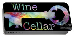 Wine Cellar Watercolor On Black Portable Battery Charger