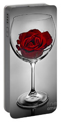 Wine Glass With Rose Portable Battery Charger