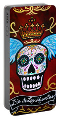Portable Battery Charger featuring the painting Winged Muertos by Pristine Cartera Turkus
