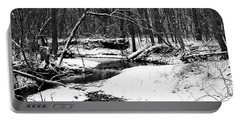 Portable Battery Charger featuring the photograph Winter At Pedelo Black And White by Deena Stoddard