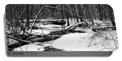 Winter At Pedelo Black And White Portable Battery Charger