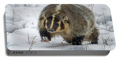 Portable Battery Charger featuring the photograph Winter Badger by Jack Bell