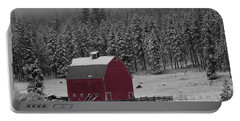 Winter Barn In Red Portable Battery Charger