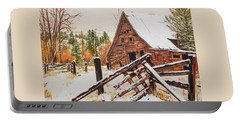 Winter - Barn - Snow In Nevada Portable Battery Charger