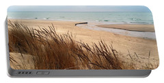 Winter Beach At Pier Cove Portable Battery Charger