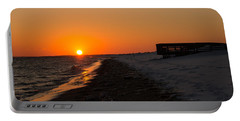 Winter Beach Sunset Portable Battery Charger
