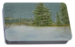 Portable Battery Charger featuring the painting Winter Blanket by Judith Rhue