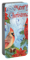 Winter Blue Cardinals-merry Christmas Card Portable Battery Charger