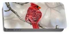 Winter Cardinal Portable Battery Charger