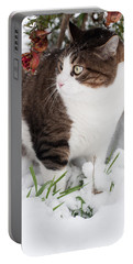 Winter Cat Portable Battery Charger by Laura Melis