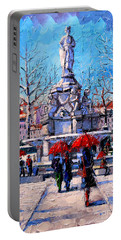 Winter City Scene - The Square  Marshal Lyautey In Lyon - France Portable Battery Charger