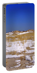 Portable Battery Charger featuring the photograph Winter Dunes Fire Island by Karen Silvestri