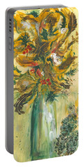 Winter Flowers Portable Battery Charger by Veronica Rickard
