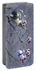 Winter Harvest 1 Chickadee Painting Portable Battery Charger