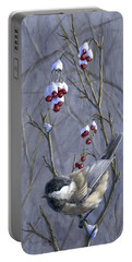 Winter Harvest 2 Chickadee Painting Portable Battery Charger