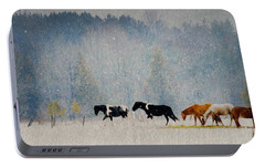 Portable Battery Charger featuring the photograph Winter Horses by Ann Lauwers