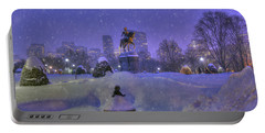 Winter In Boston - George Washington Monument - Boston Public Garden Portable Battery Charger