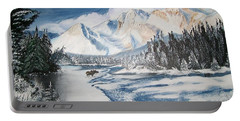 Portable Battery Charger featuring the painting Winter In The Canadian Rockies by Sharon Duguay