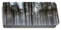 Winter Light In A Forest With Dancing Trees Portable Battery Charger